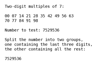 Divisibility Test for 7 (Decimal, Fast) by treisaran
