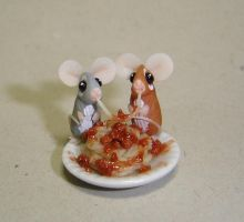 Mice and spaghetti by Fairiesworkshop