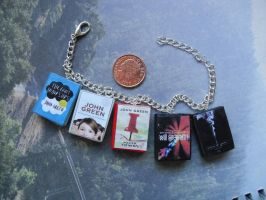 John Green collection book charms bracelet by InsaneJellyBean95
