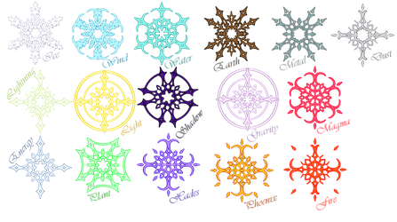 Element Symbols in Aria - Flat Colors by Awa303