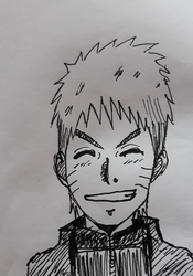 Naruto smiling in ink by Fran48