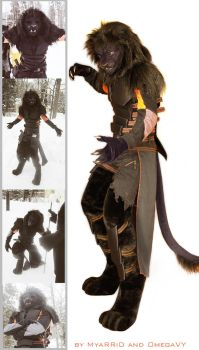 Black Anthrolion fursuit by OmegaLioness