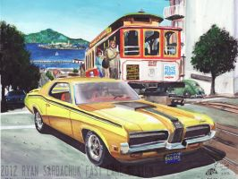 1970 Mercury Cougar In San Francisco (Painting) by FastLaneIllustration