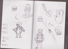 Frisk and Sans Ballet Animation Concept Sketches by NinjaObsessed