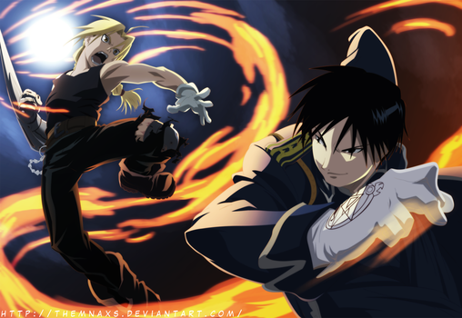 Edward Elric VS Roy Mustang by themnaxs