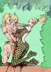 Amazon Hunteress vs Leopard Female Killer by Svetoslawa