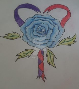 Blue Rose and Ribbon Design by CerraSin
