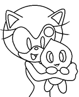 Sonic Female Base: Chao Hugging by LouisaCBases