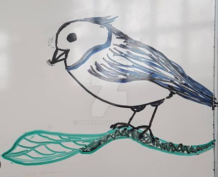 Blue Birdy on the Tip of an Branch by YuKey0