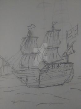 A Ship sailing on the Ocean Wide by Gladys-Marie-Johnson