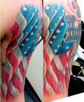 American Flag Tattoo by catbones