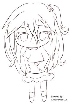 2. Kawaii Flower Chibi [Line Art] by ChibiKawaiiLuv
