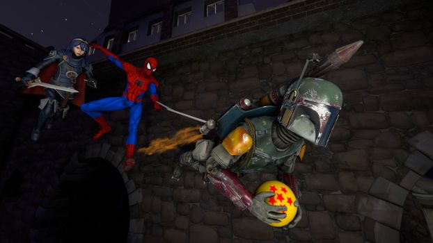 Lucina and Spider-Man stopping Boba Fett by kongzillarex619