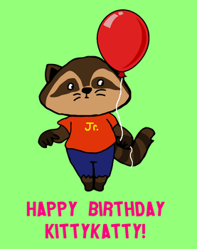 GIFT - Raccoon with a Balloon by YonderHo