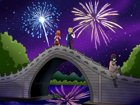 Night fireworks by Kaitogirl