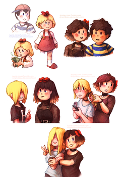 Tracy and Picky [EarthBound] by Amphibizzy