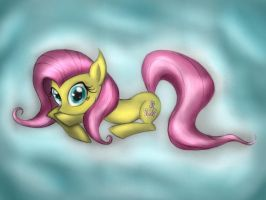 Fluttershy on the cloud by Ap0st0l