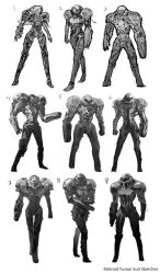Metroid Fusion Suit Redesign Sketches by gordontian