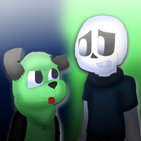Fuzzy Skele Meets a Green Robot Dog by cjc728