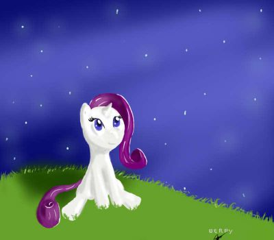 Moonlight filly Rarity by DerpyNate