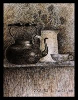 Still life with a black kettle by classicfan