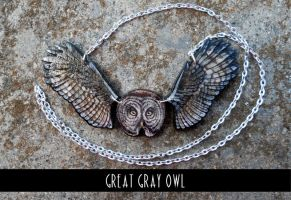 Great Gray Owl - plywood pendant by MithriLady