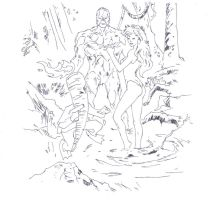 Swamp thing, Poison ivy, and Flaming carrot (line) by electronicdave