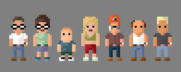 King of the Hill Characters 8 Bit by LustriousCharming