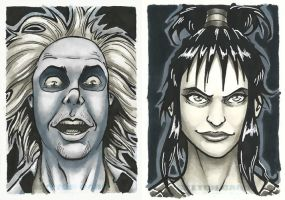 Beetlejuice and Lydia sketch cards by TravisTheGeek