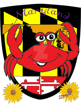 Maryland comic crab with sheild and flower by DarkRubyMoon