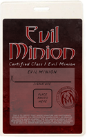 Evil Minon Con Badge by boogaarr