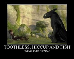 Toothless, Hiccup and Fish by 6SeaCat9