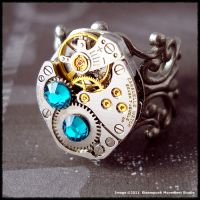 Steampunk Ocean Blue Ring 002 by SoulCatcher06