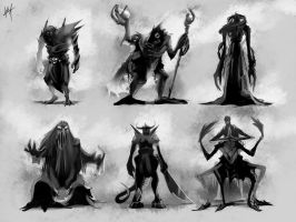 Creature Silhouettes by KalaSketch
