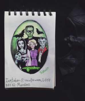 Inktober - Drawlloween / day 12: the Munsters by Frankienstein