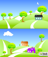 Free Vector Nature Landscape with House by Stockgraphicdesigns