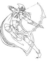 League of Legends: Ashe Lineart by cristy201