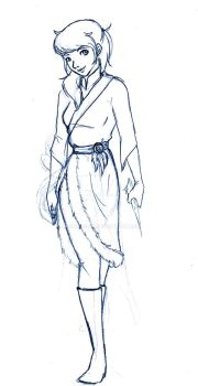 Sketch: Waterbender OC by LorvicMeow