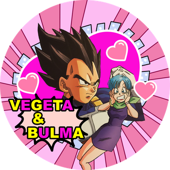 Dragon Ball Super Vegeta x Bulma button by Dbzbabe