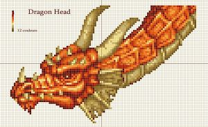Dragon head x-stitch pattern by Santian69