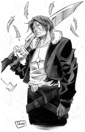 INKTOBER DAY 8: Final Fantasy VIII: Squall by Shono