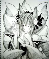 Ahri from League of Legends - Ink by tatsukai