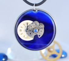 'Midnight' - Handcrafted Steampunk Glass Pendant by Henri-1
