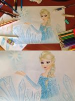 Elsa from Frozen Colored Pencils + Drawing Video by Amana-HB