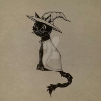 Witchy black cat by LandGart
