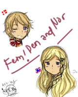 Fem!Denmark and Norway~ by Monochrome-tan