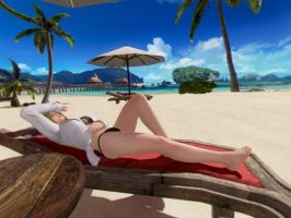 Helena Douglas relaxing at sun bed (VR Style) by AVGNJr1985