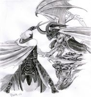Drizzt vs. Illidan by Lordofhjoerring