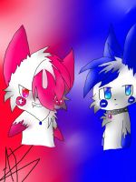 Plusle and Minun Pokesonas by inuyashalover204
