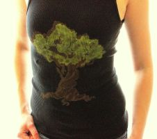 Twisted Tree- Handpainted Tank Top in Black by untitledlullabyx
